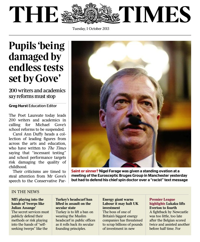 The Times Farage front page